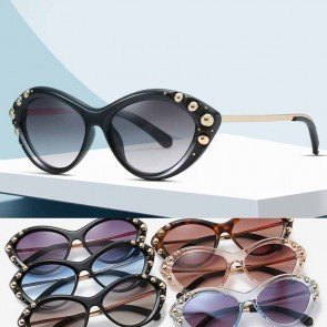 Gold Tone Beads Studded Retro Female Cat Eye Sunglasses