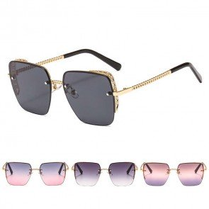 Modern Rimless Rhinestone Sunglasses Vibrant Colors