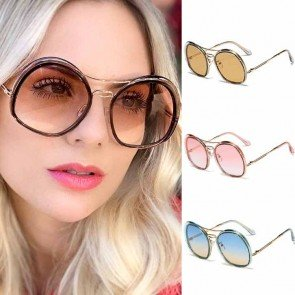 Double rim oversize round gradient butterfly sunglasses