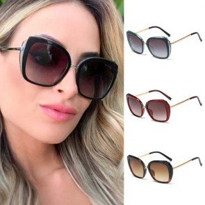Cat eye sunglasses metal cross bar bold acetate frame