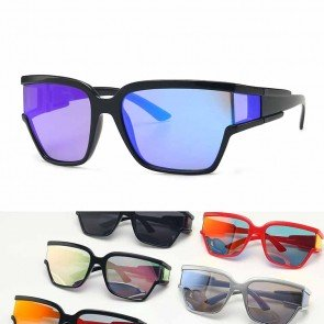 Wrap around sports sunglasses side cap futuristic look