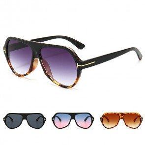 Stylish Retro Aviator Sunglasses Flat Top Acetate Frame