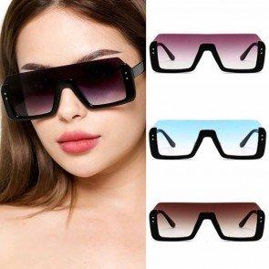 Half Frame One Piece Lens Sunglasses Big Box Glasses