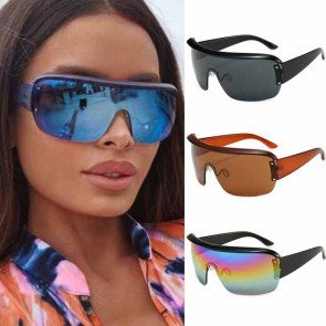 Oversized flat top shield lens wrap around sunglasses
