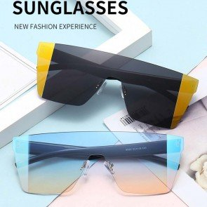 Modern acetate frame one piece lens aviator sunglasses