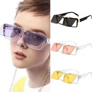 Rectangle retro indie flip up steampunk sunglasses