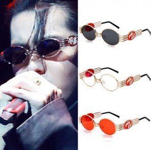 Steampunk Shades Dragon Logo Round Flat Lens Sunglasses