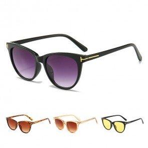 Round Cat Eye Sunglasses w/ Gold Tone T Detail