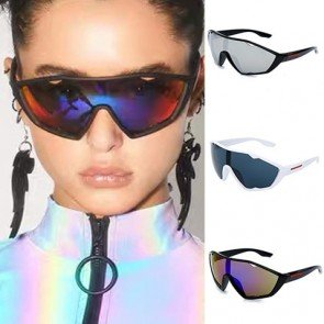 One piece wrap around lens mask shield sport sunglasses