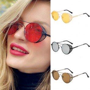 Side caps steampunk sunglasses retro round glasses