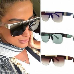 Flat Top Half Frame Flip Up Lens Aviator Sunglasses