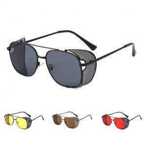 Steampunk Cyber Round Retro Goggles Blinders Sunglasses