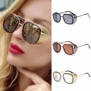 Steam Punk Sunglasses Flat Top Frame Mesh Side Shields