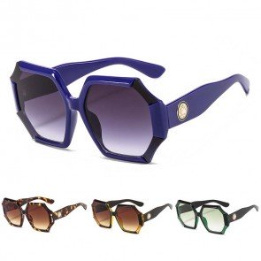 Oversized Heptagon Sunglasses Multicolored Bamboo Frame
