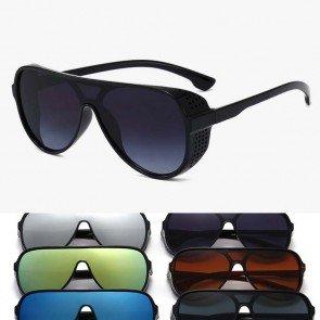 Retro Aviator One Piece Mirror Lens Sunglasses