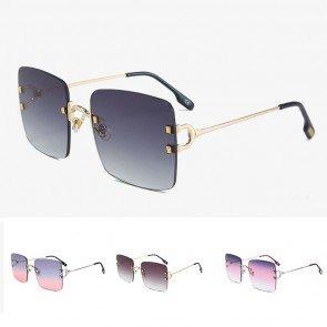 Rimless lens oversize modern metal square sunglasses