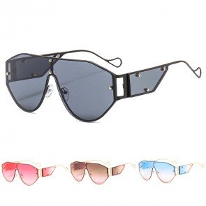 Single Lens Aviator Hip Hop Sunglass with Side Shields