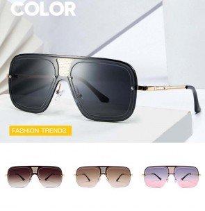 Gradient Tint Rimless Rectangle Aviator Sunglasses