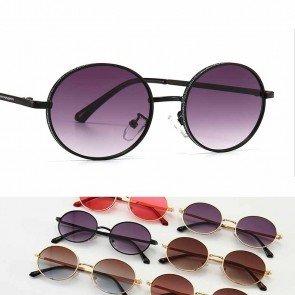 Retro Inspired colorful lens glitter oval sunglasses