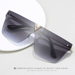 Rimless Bling Mono Shield Sunglasses One Piece Lens