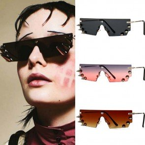 Punk rivets one piece rimless vintage retro sunglasses