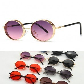 Steampunk Oval Alloy Frame Mesh Side Caps Sunglasses