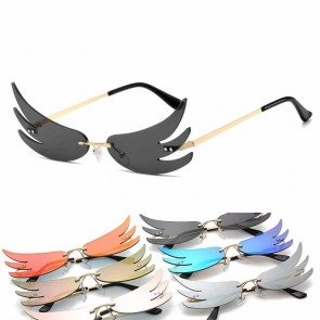 Little Rimless Wings Sunglasses Chic Costume Accessory