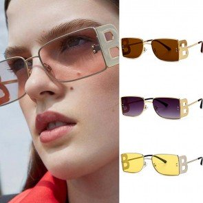 Big 'B' Letter Temples Rectangular Frame Sunglasses