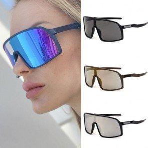 Shield Oversize Acetate Frame One Piece Lens Sunglasses