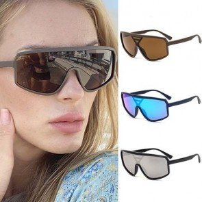 Wrap Around Frame Futuristic One Piece Sunglasses