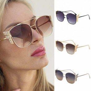 Metal Frame Bling Diamante F Letter Wings Sunglasses