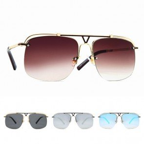 Oversized luxury metal pilot frame aviator sunglasses