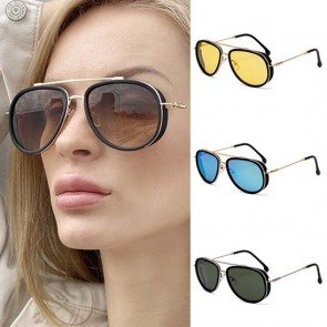 Vintage steampunk thin legs side caps pilot sunglasses