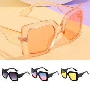 Chic wrap around frame square gradient big sunglasses