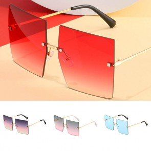 Modern large square sunglasses oversized rimless lens