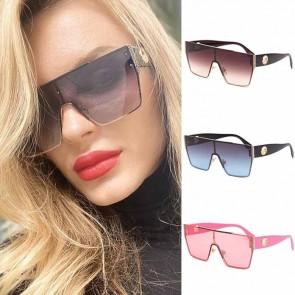 Oversized luxury square flat top one piece sunglasses
