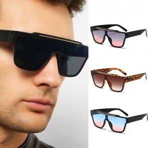 Flat Top D frame futuristic one piece sunglasses