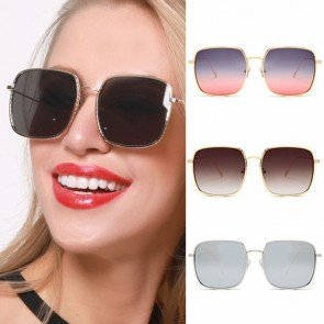 Oversized Square Sunglasses Embossed Retro Alloy Frame