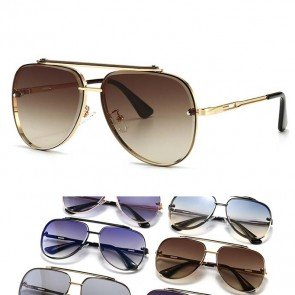 Flat Top Aviator Sunglasses with Gold Tone Nose Bar