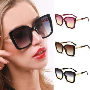 Metal Decor Legs Acetate Frame Square Sunglasses