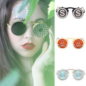 Vintage Steampunk Round Sunglasses Flip Up Fun Lens