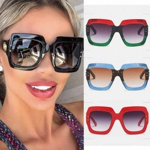 Multicolored gradient lens square oversized sunglasses