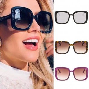 Square big coverage sunglasses oversized acetate frame