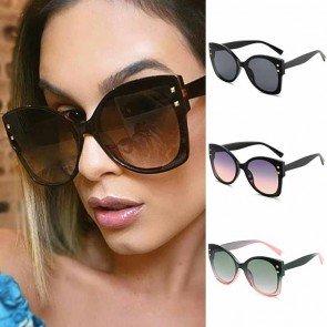 Flat lens ladies gradient oversized cat eye sunglasses