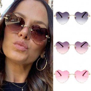 Rimless Love Shaped Flower Edge Cute Heart Sunglasses