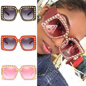 Super Chic Modern Rivets Oversized Square Sunglasses