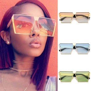 Oversize Sunglasses Squared Flat Lens Summer Accessory