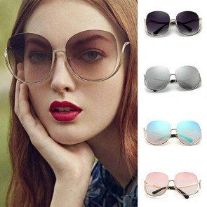 Oversize half frame gradient lens curved temple shades
