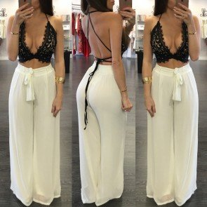 Womens Comfy High Waist Wide Flare Leg Lounge Pants