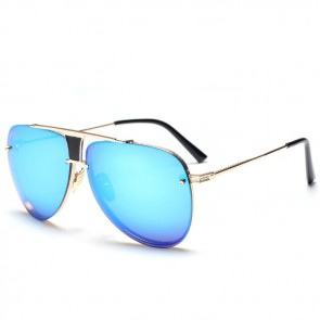 Metal Aviator Sunnies Rimless Tear Drop Mirrored Lens